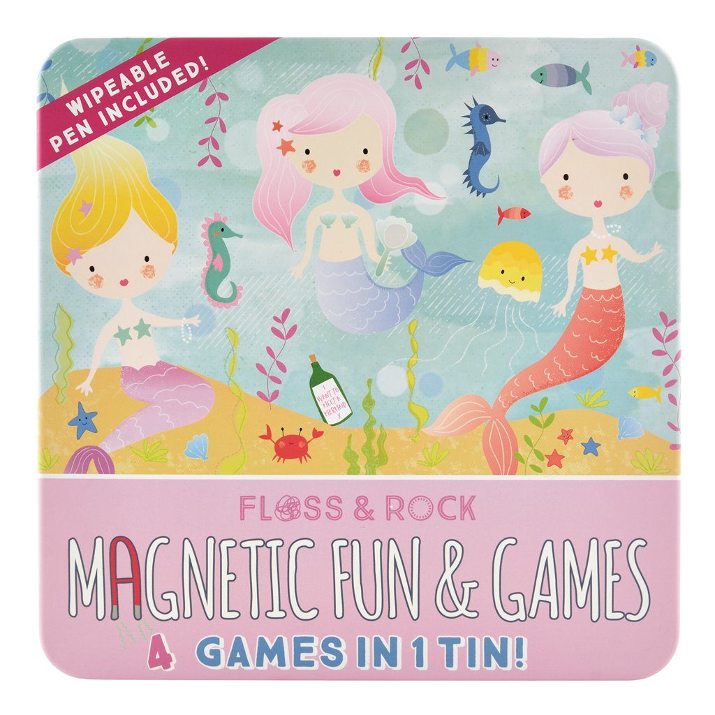 Floss & Rock | Magnetic Fun & Games 4-in-1 Game Tin | Mermaid Friends