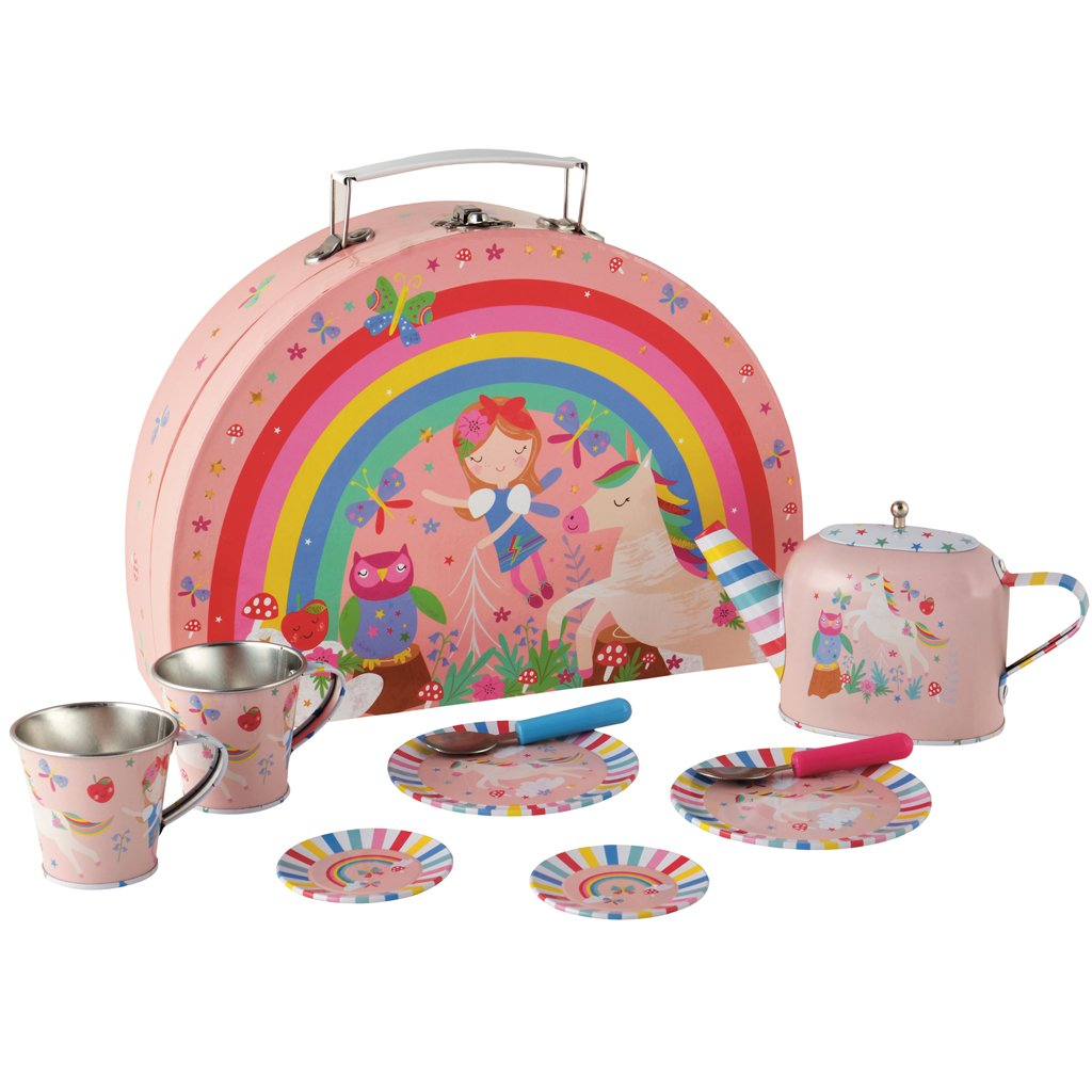 Floss & Rock | 10 Piece Tin Tea Set | Rainbow Fairy
