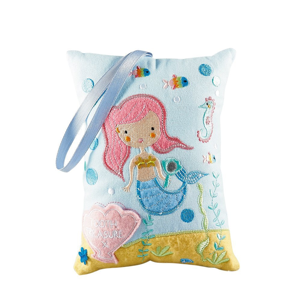 What fun she'll have waking up in the morning with a special surprise from the tooth fairy. Our sweet Mermaid tooth pillow is the perfect place for that lost tooth treasure.