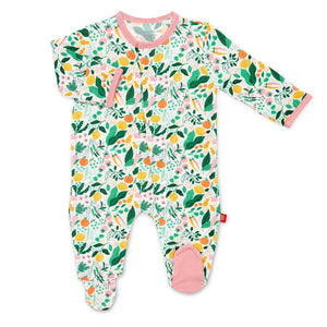 Magnetic Me Lemon Verbena modal magnetic closure footie on baby girl.