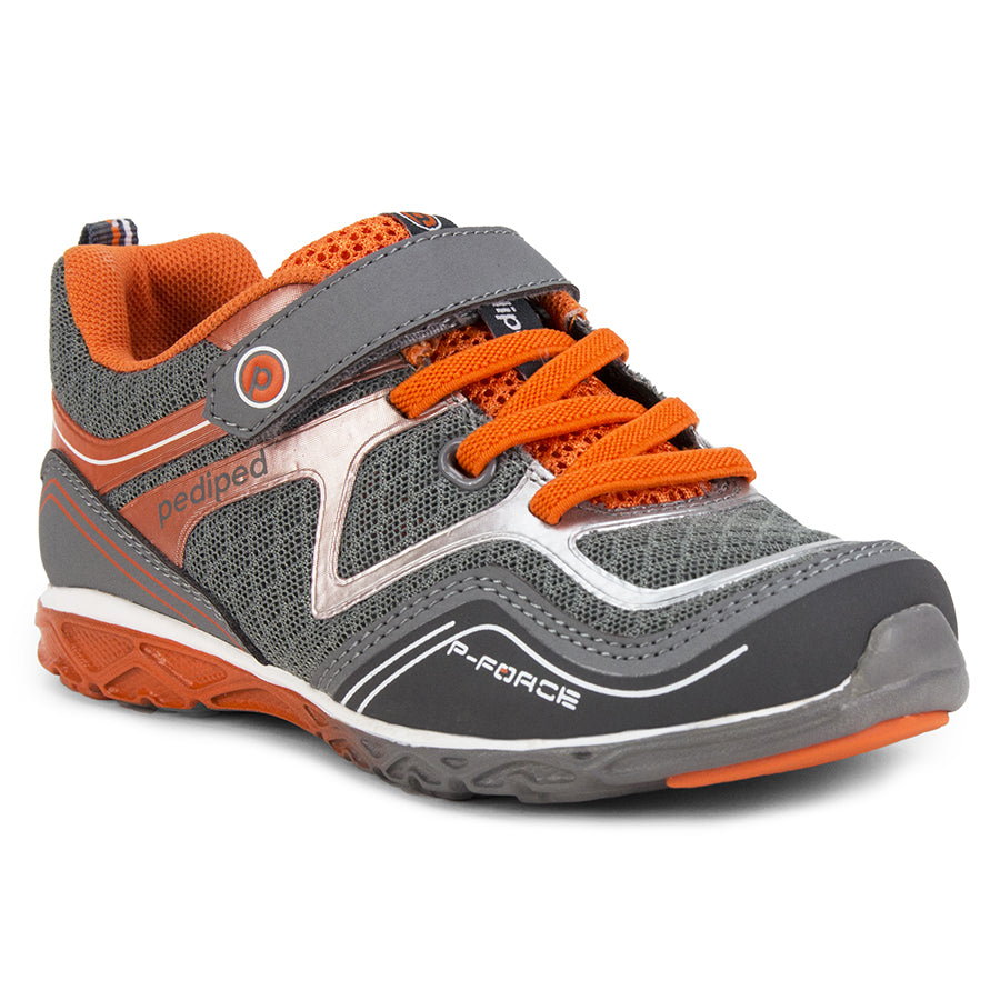 Pediped | Flex Force Grey Orange Athletic Sneakers
