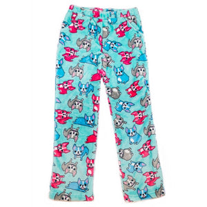 Candy Pink Girls Fleece Plush French Bulldog Pajama Lounge Pant