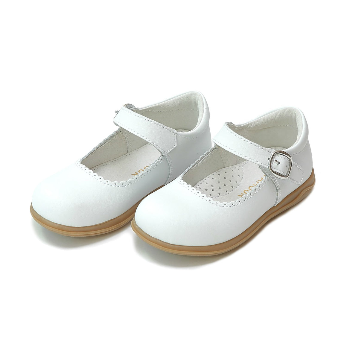 girls white leather scalloped mary jane shoes from L'Amour, available at Threadfare Children's Boutique