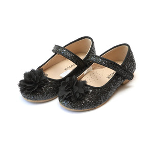 girls black sparkly glitter ballet flats from L'Amour shoes, available at Threadfare Children's Boutique
