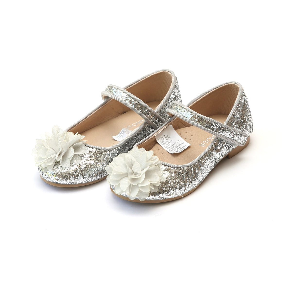 girls silver sparkle glitter ballet flats with flower from L'Amour, available at Threadfare Children's Boutique