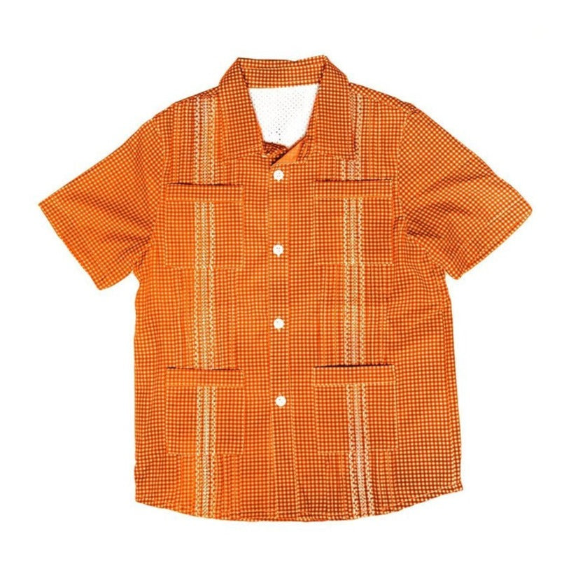 Blue Quail Clothing Co | SS Gameday Guayabera | Burnt Orange and White Gingham