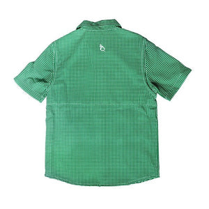 Blue Quail Clothing Co | SS Gameday Guayabera | Green and White Gingham