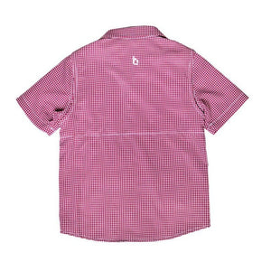 Blue Quail Clothing Co | SS Gameday Guayabera | Maroon and White Gingham