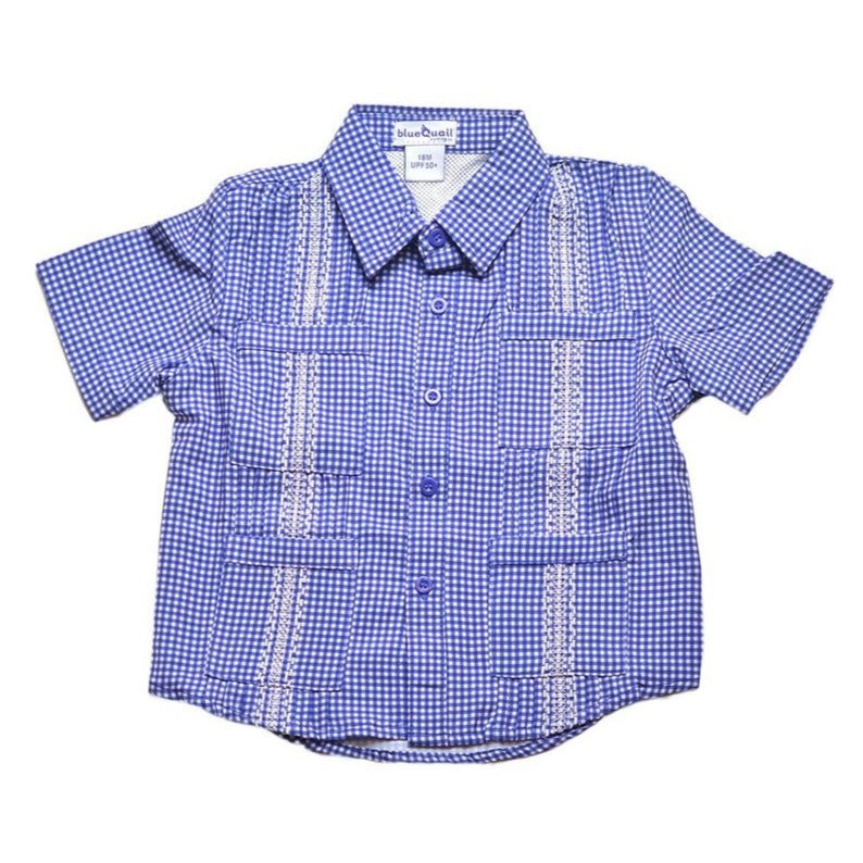 Blue Quail Clothing Co | SS Gameday Guayabera | Navy and White Gingham