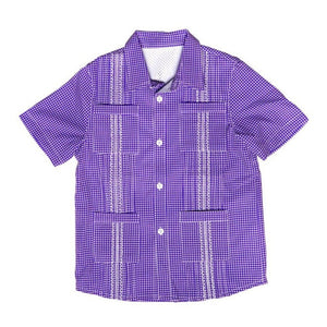 Blue Quail Clothing Co | SS Gameday Guayabera | Purple and White Gingham