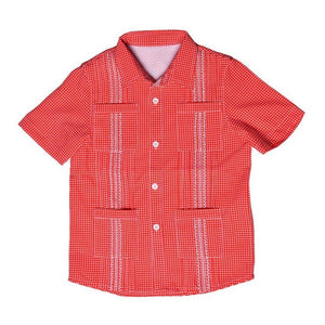 Blue Quail Clothing Co | SS Gameday Guayabera | Red and White Gingham