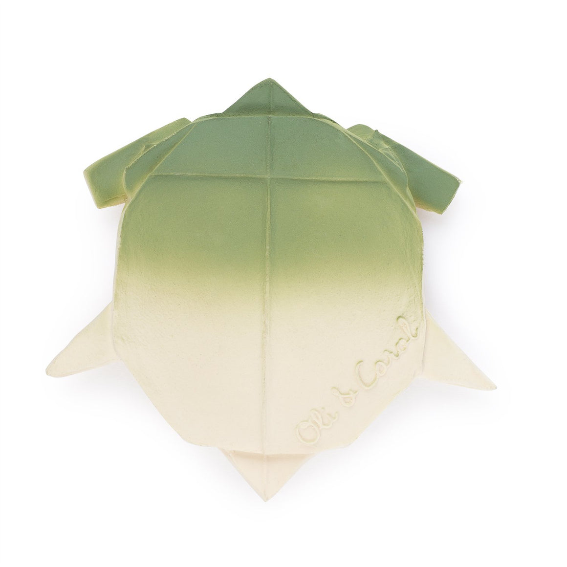 H2Origami Turtle teether / bath toy from Oli & Carol. Handmade from 100% natural rubber material and painted with food grade dyes. Made in Morocco.
