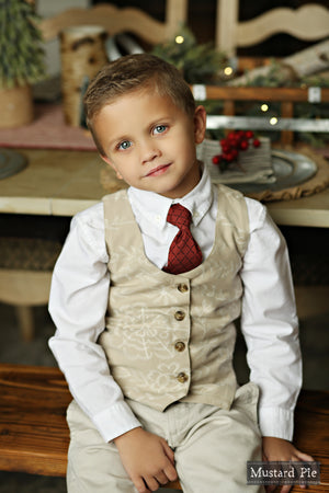 Mustard Pie Holiday 2018 Boys Vest in Bisque and Necktie in Ruby