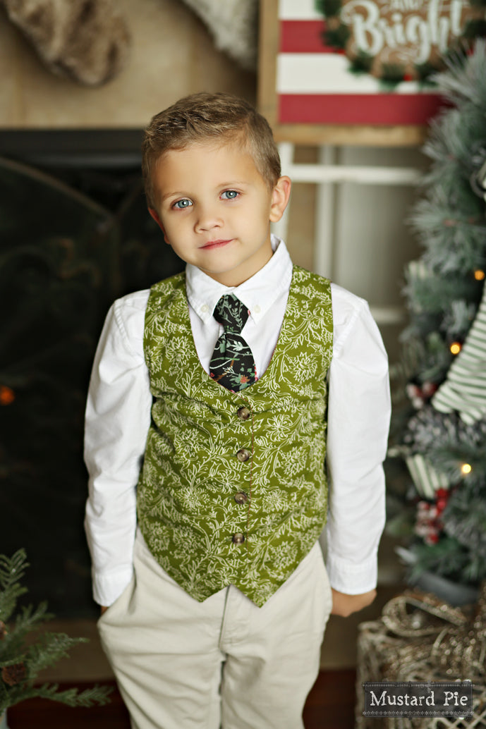 Mustard Pie Holiday 2018 Boys Reversible Vest in Holly