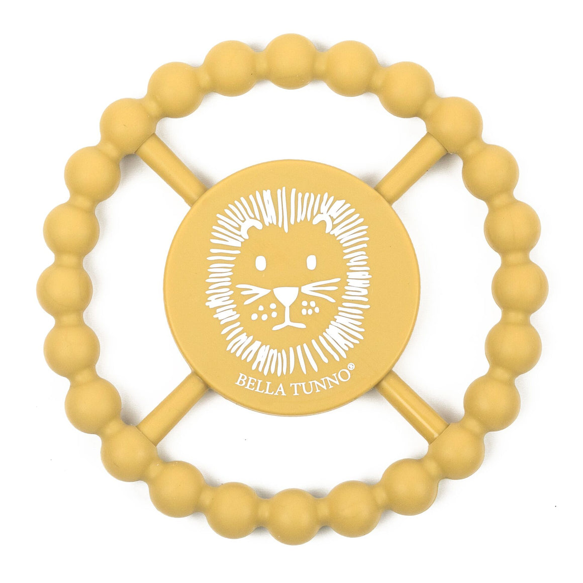 Easy grip 100% FDA Approved Food Grade Silicone Lion graphic ball teether in muted mustard yellow