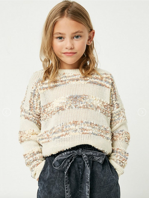 Hayden Girls | Popcorn Stripe Knit Sweater