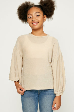 Hayden Girls |  Sparkly Puff Long Sleeve Top