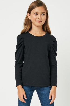 Hayden Girls | Pleated Puff Shoulder Knit Top
