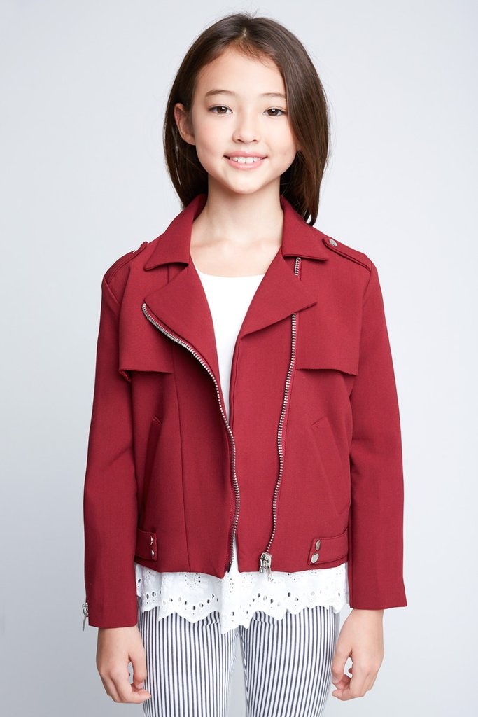 Hayden Girls | Moto Jacket | Burgundy
