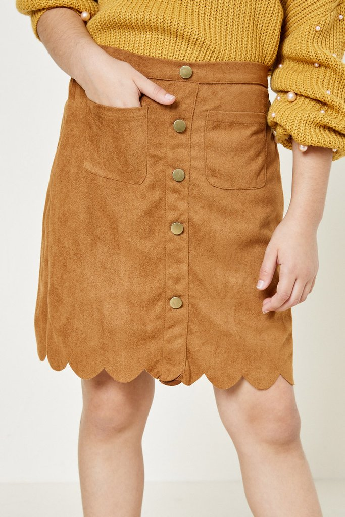 Hayden Girls | Scallop Hem Faux Suede Skirt | Camel