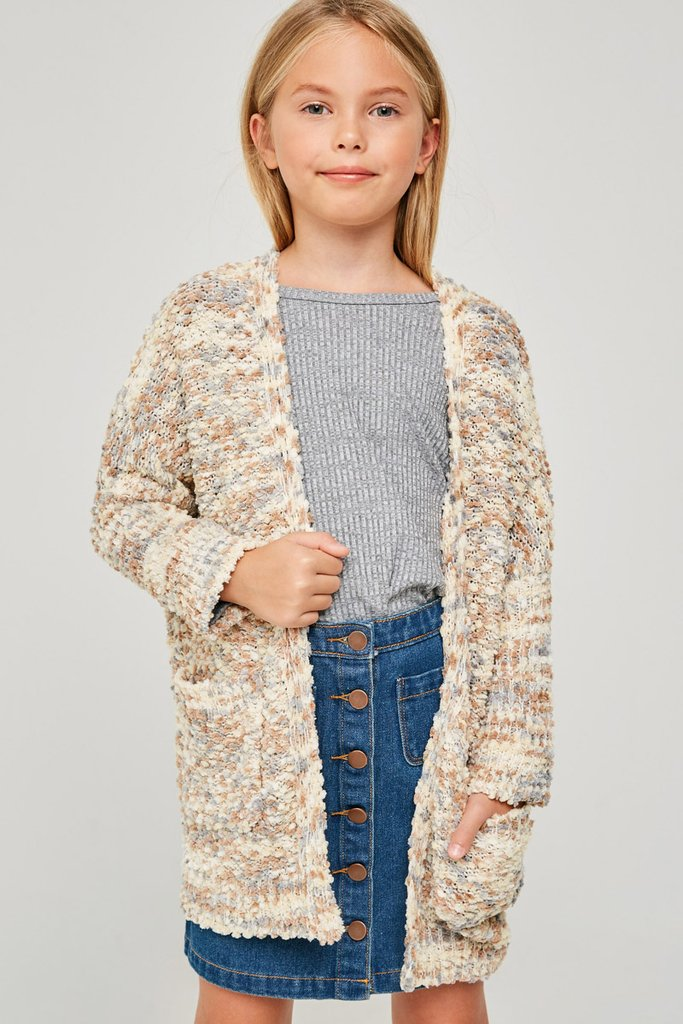 Hayden Girls | Textured Dolman Sleeve Cardigan | Cappuccino