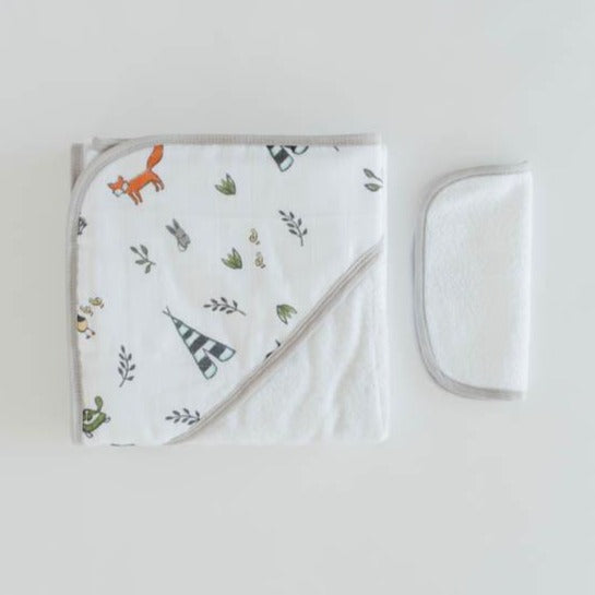 Little Unicorn | Cotton Hooded Towel & Wash Cloth | Forest Friends
