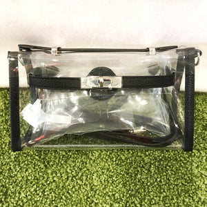 Stadium Bags Clear Purse w/ Rhinestone Gummy Bracelet - Black