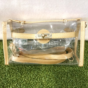 Stadium Bags Clear Purse w/ Rhinestone Gummy Bracelet - Gold