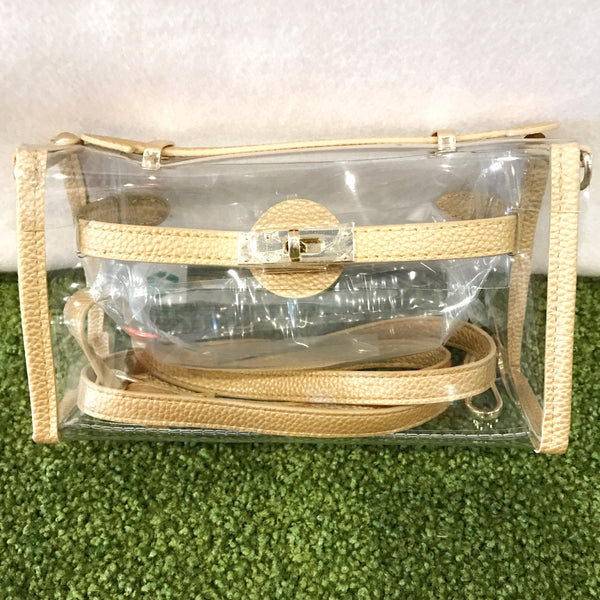 *NEW - Stadium Bags Clear Purse w/ Rhinestone Gummy Bracelet - Gold
