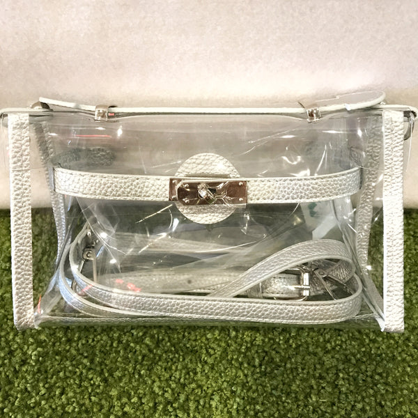 *NEW - Stadium Bags Clear Purse w/ Rhinestone Gummy Bracelet - Silver
