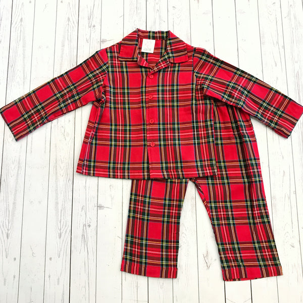 Juju & Jack Sleepware Boys Red Tartan Plaid Pajama Set
