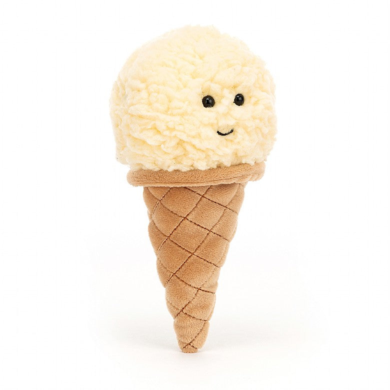 "7"" stuffed plush ice cream cone in Vanilla. By Jellycat."