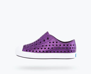 Deep purple glitter slip on waterproof shoe from Native.