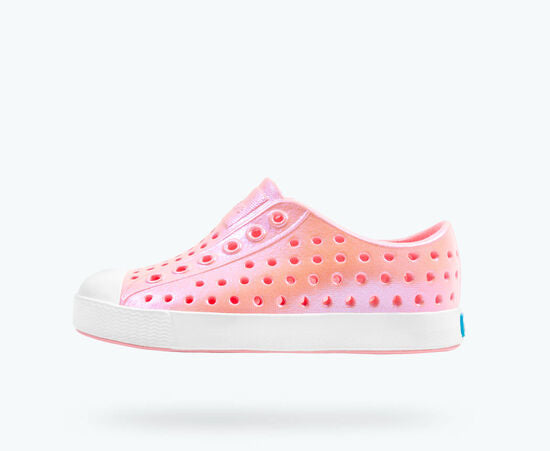 Shiny iridescent slip on waterproof shoe in princess pink galaxy from Native.