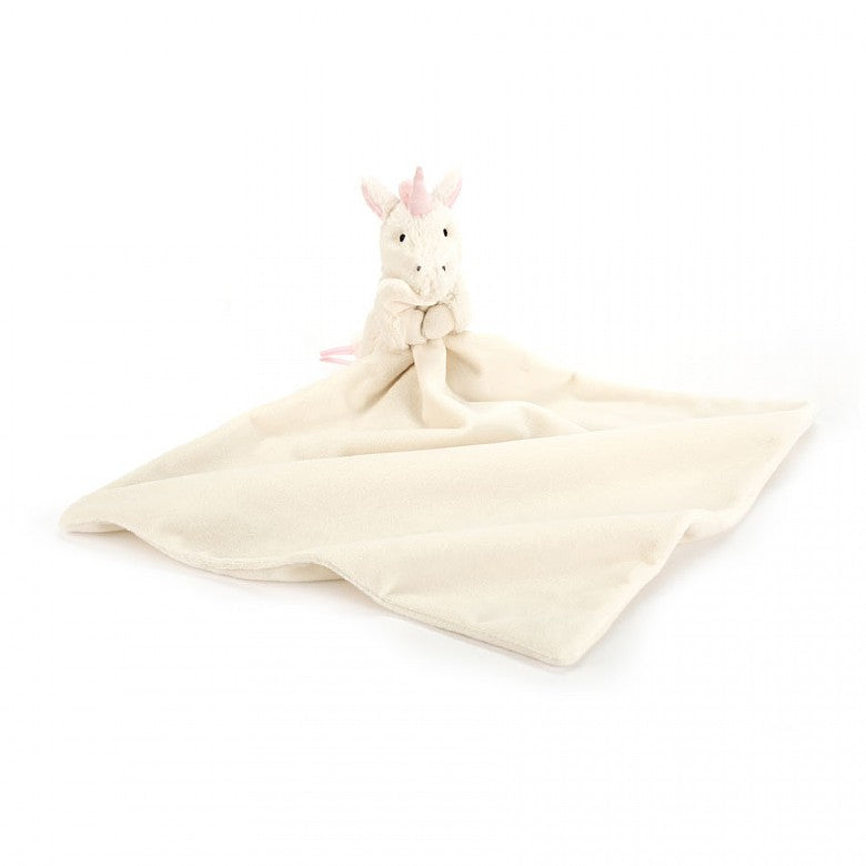 A sweet, soft unicorn lovie baby blanket in ivory and light pink. A super sweet baby gift. Jellycat Bashful Unicorn Soother