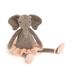 A soft plush grey elephant with peach bow, tutu skirt and lace up ballet shoes. The Dancing Darcey Elephant from Jellycat.