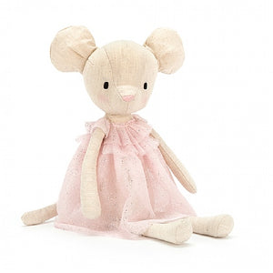"A sweet Jolie Mouse stuffed animal doll, 12"", with light pink shimmer tulle dress. Weighted at the bottom to enhance sitting."