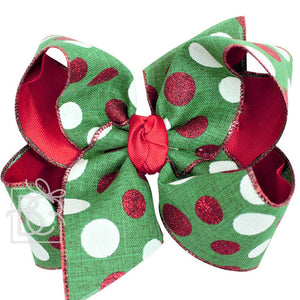 "Holiday | 5.5"" Layered Christmas Dotted Bow on Clip"