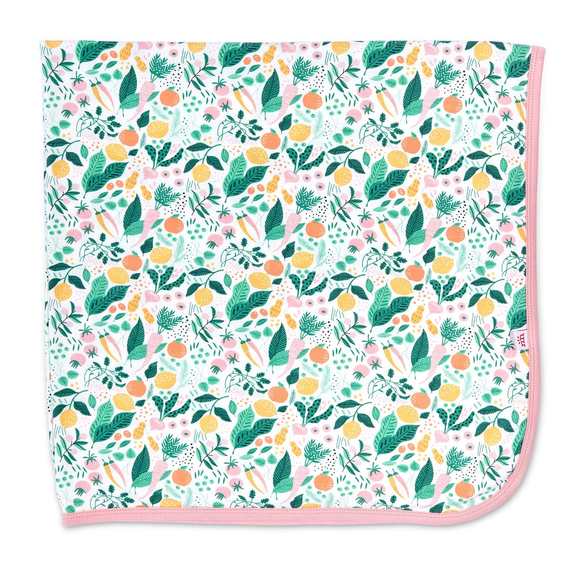 A cheerful fruit and vegetable printed modal swaddle baby blanket in yellow, orange, shades of green and pink.