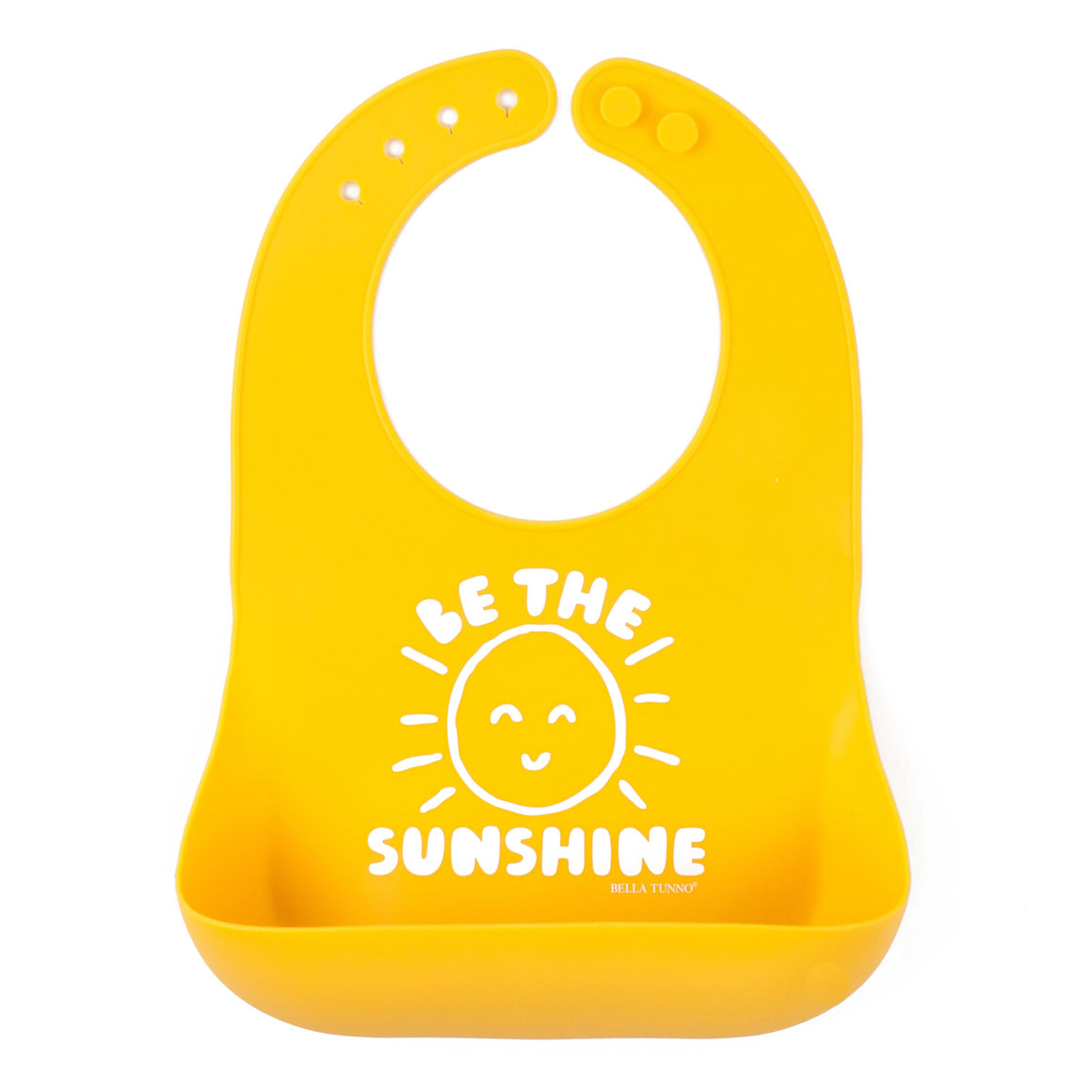 100% FDA Approved Food Grade Silicone Wonder Baby Bib with Be the Sunshine graphic in bright yellow