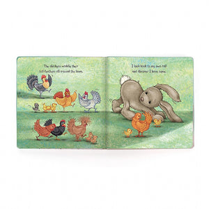 Little Me, board book for babies and toddlers from Jellycat. Open view.