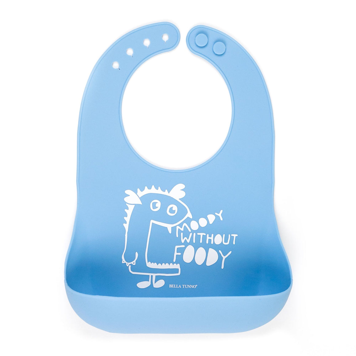 100% FDA Approved Food Grade Silicone Wonder Baby Bib with Monster Moody without Foody graphic in sky blue