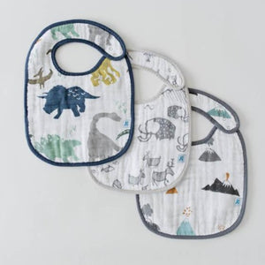 Little Unicorn | Cotton Muslin Classic Bib 3 Pack | Dino Friends