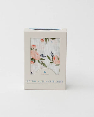 Little Unicorn | Cotton Muslin Crib Sheet | Watercolor Roses