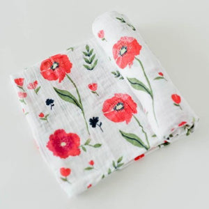 Little Unicorn | Cotton Muslin Swaddle Blanket | Summer Poppy