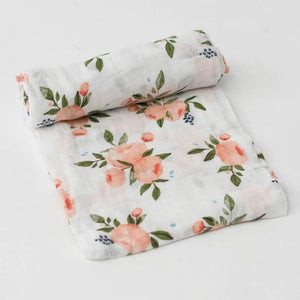 Little Unicorn | Cotton Muslin Swaddle Blanket | Watercolor Roses