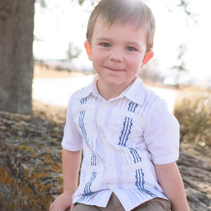 Blue Quail Clothing Co Boys Guayabera Shirt in White/Navy on young boy