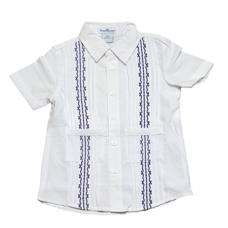 Blue Quail Clothing Co Boys Guayabera Shirt in White/Navy