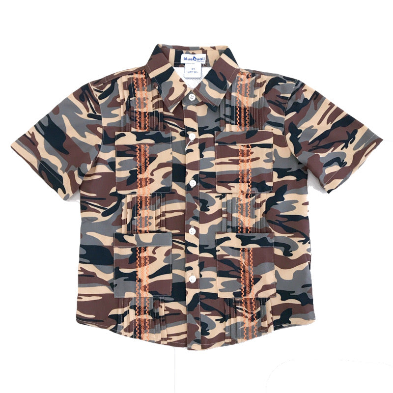 Blue Quail Clothing Co | SS Guayabera | WestTX Camo and Blaze Orange (NEW)