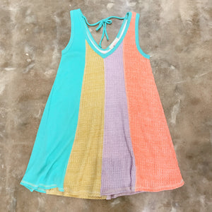 soft waffle knit in tangerine, lavender and golden rod, with sea blue ribbed knit in a vneck swing summer dress perfect for the pool or beach